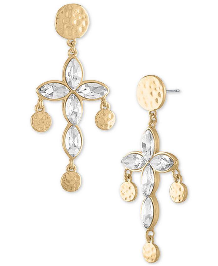 RACHEL Rachel Roy - Gold-Tone Hammered Coin & Crystal Cross Drop Earrings