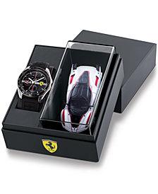 Ferrari Men's Speedracer Black Silicone Strap Watch 46mm Gift Set
