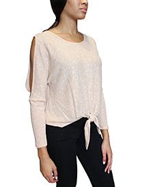Crave Fame Juniors Cold-Shoulder Tie-Front Top