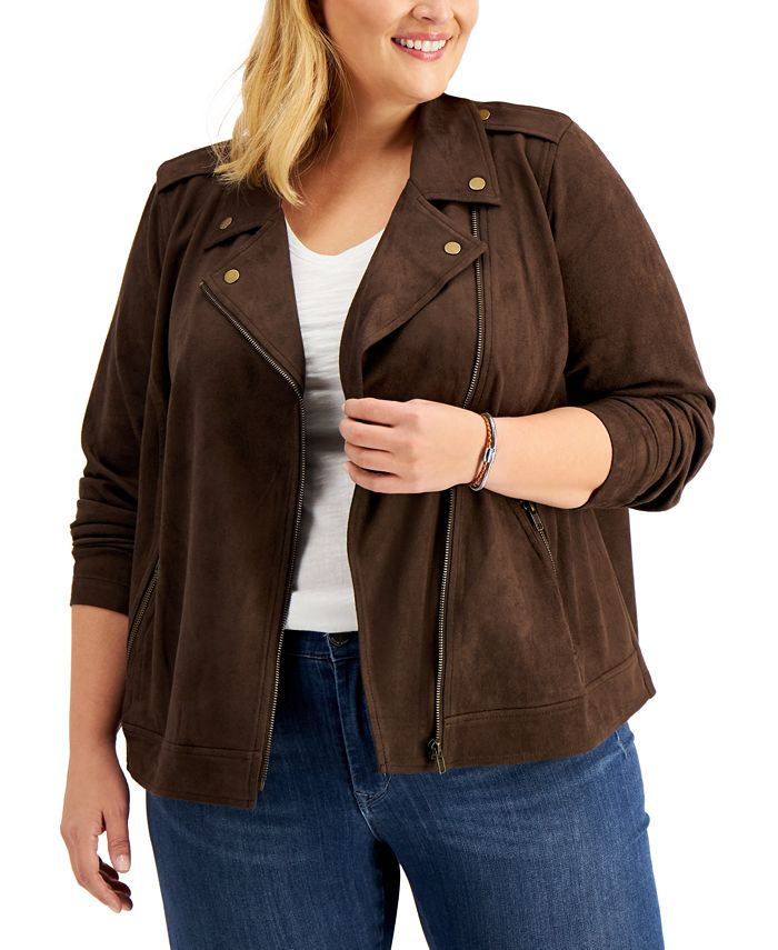 Style & Co - Plus Size Faux-Suede Moto Jacket
