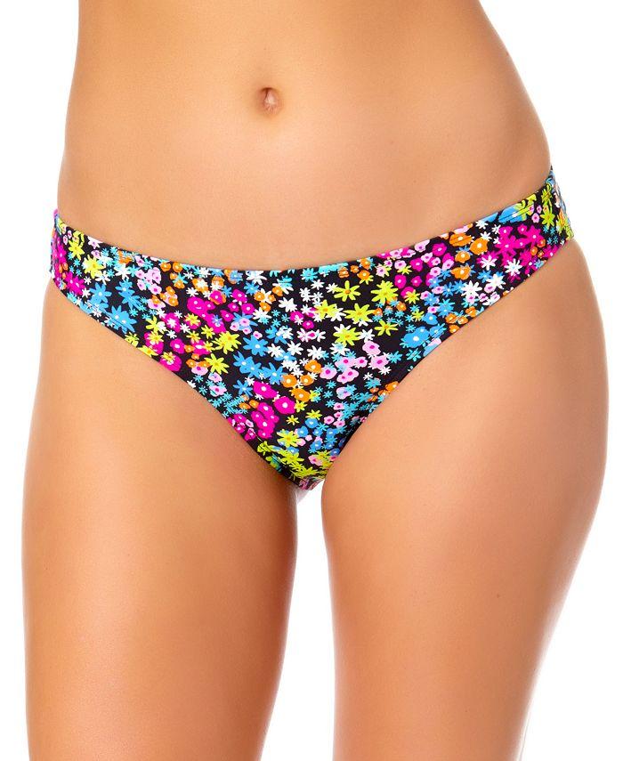 California Waves - Juniors' Floral-Print Hipster Bikini Bottoms