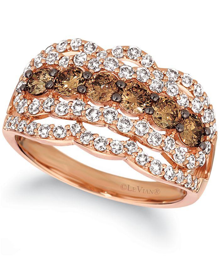 Le Vian - Chocolate Diamond (1 ct. t.w.) & Nude Diamond (1 ct. t.w.) Ring in 14k Rose Gold
