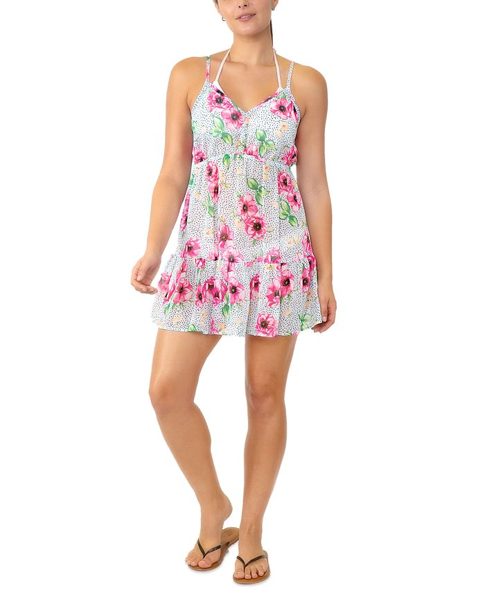 Miken - Juniors' Adjustable Floral-Print Cover-Up