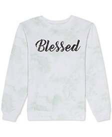 Love Tribe Juniors Graphic Print 'Blessed' Tie Dye Sweatshirt