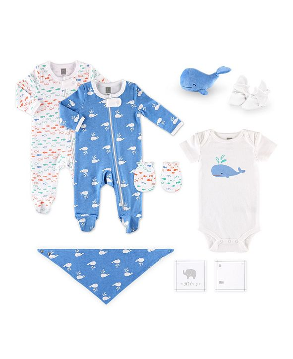 The Peanutshell PSP Baby Boy 10 Piece Whale Pattern Hanging Gift Set