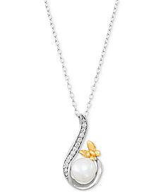"""Giani Bernini Cultured Freshwater Pearl (8mm) & Cubic Zirconia 18"""" Pendant Necklace, Created for Macy's"""