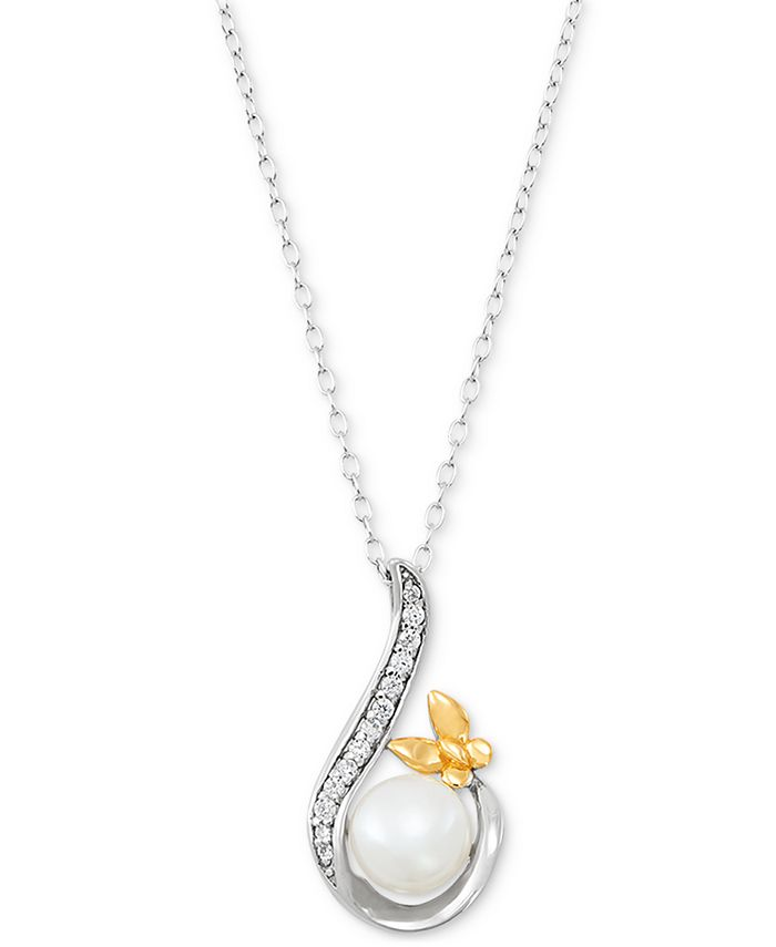 "Giani Bernini - Cultured Freshwater Pearl (8mm) & Cubic Zirconia 18"" Pendant Necklace"