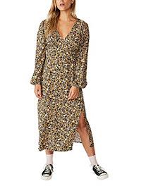 Women's Woven Heather Long Sleeve Midi Dress