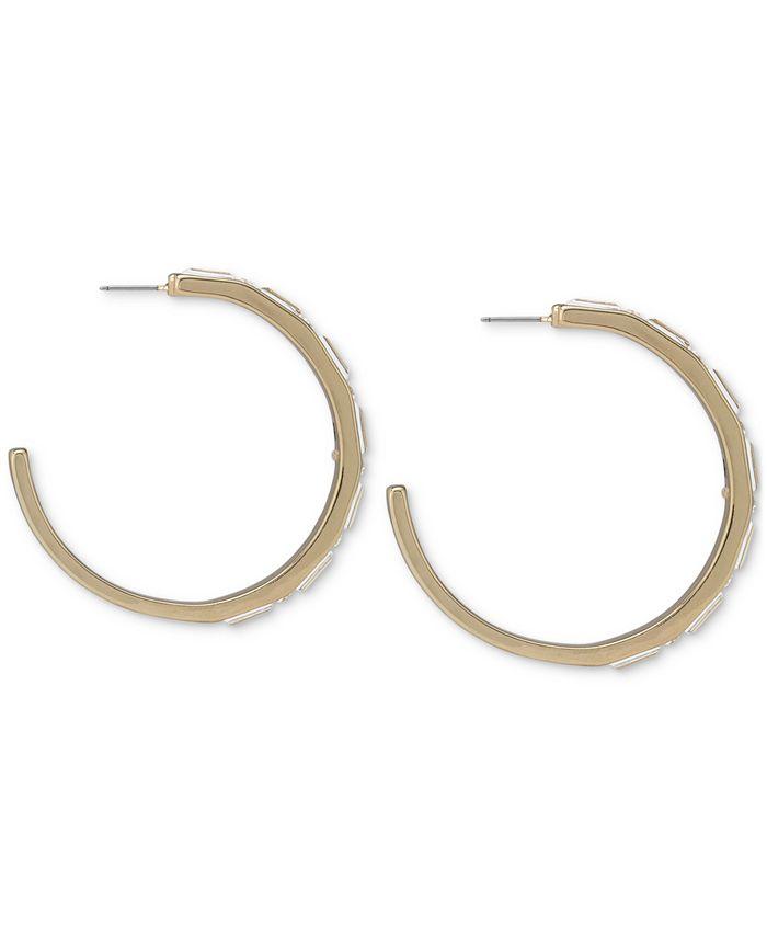 """RACHEL Rachel Roy - Gold-Tone Medium Crystal Front C-Hoop Earrings, 2"""""""