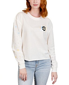 Rebellious One Juniors' Sun Moon Stars Sleeve Detail Graphic T-Shirt