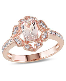 Morganite and Diamond Vintage-inspired Floral Halo Ring
