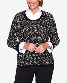 Women's Plus Size Knightsbridge Station Sparkly Eyelash Two-For-One Sweater