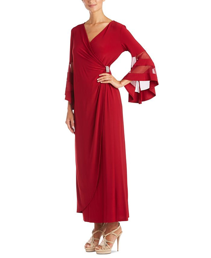 R & M Richards - Illusion-Sleeve Gown