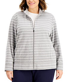 Karen Scott Plus Size Striped Zippered Sweatshirt, Created for Macy's