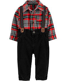 Carter's Baby Boys Plaid Shirt, Pants & Suspenders Set