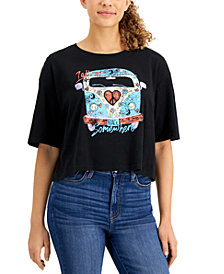Self Esteem Juniors' Cotton Cropped Retro-Graphic T-Shirt