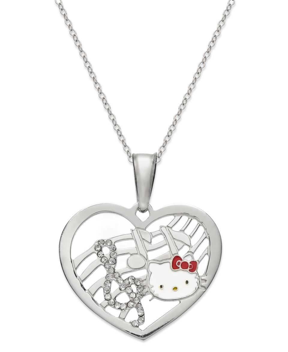 Hello Kitty Sterling Silver Necklace, Enamel Kitty Face Love Pendant   Necklaces   Jewelry & Watches