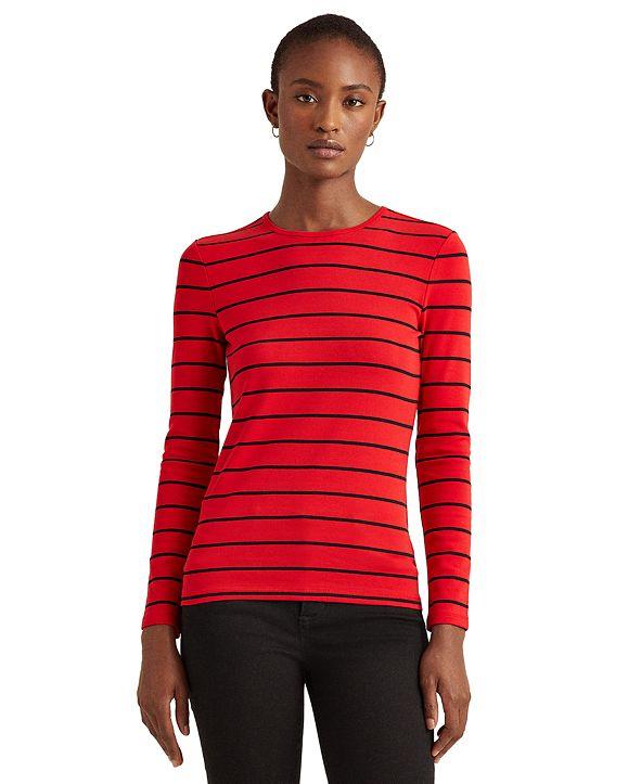 Lauren Ralph Lauren Striped Cotton-Blend Top