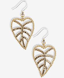 Lucky Brand Gold-Tone Pavé Open Leaf Drop Earrings