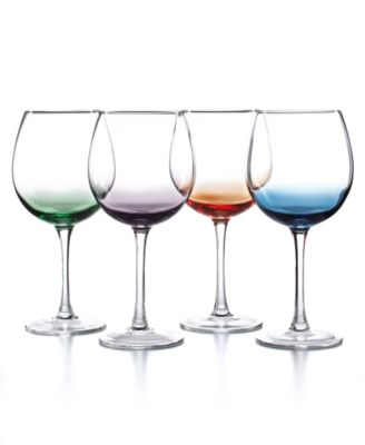 The Cellar Set of 4 Assorted Color Wine Glasses