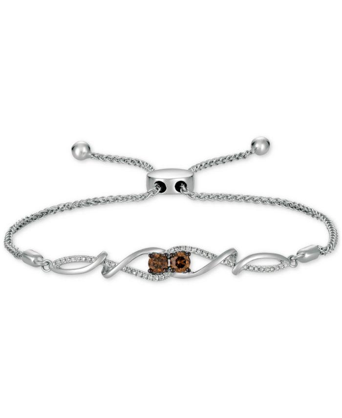 Le Vian Chocolatier® Chocolate Diamond & Vanilla Diamond Bolo Bracelet (1/2 ct. t.w.) in 14k White Gold & Reviews - Bracelets - Jewelry & Watches - Macy's