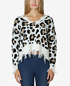 Polly & Esther Juniors' Destructed Animal-Print Sweater