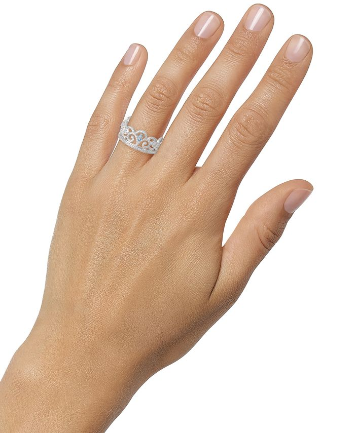 Disney Cubic Zirconia Princess Crown Ring in Sterling ...