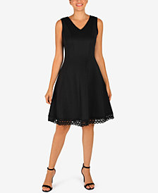 Donna Ricco Lace-Hem Fit & Flare Dress