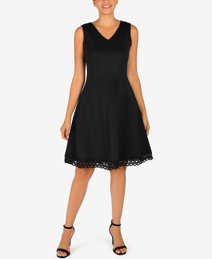 Donna Ricco - Lace-Hem Fit & Flare Dress