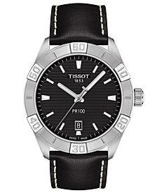 Tissot Men's Swiss PR 100 Sport Black Leather Strap Watch 42mm