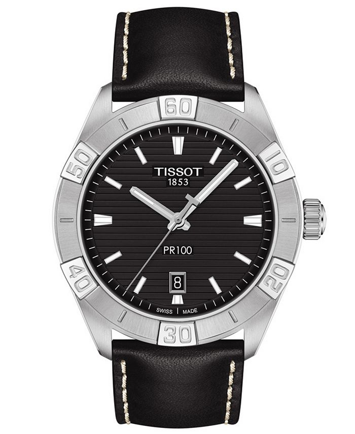 Tissot - Men's Swiss PR 100 Sport Black Leather Strap Watch 42mm