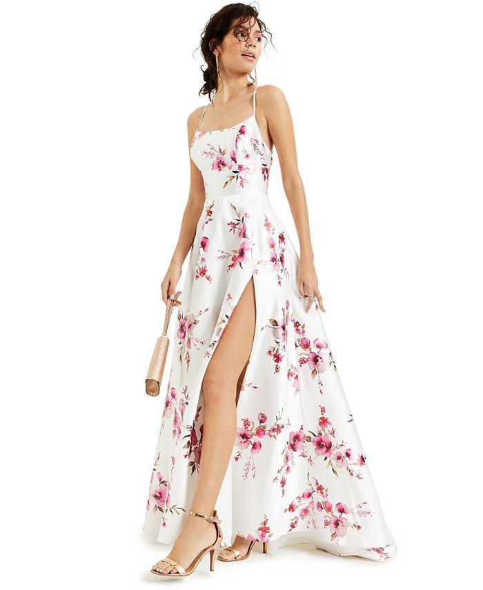 B Darlin - Juniors' Strappy-Back Foil-Print Gown