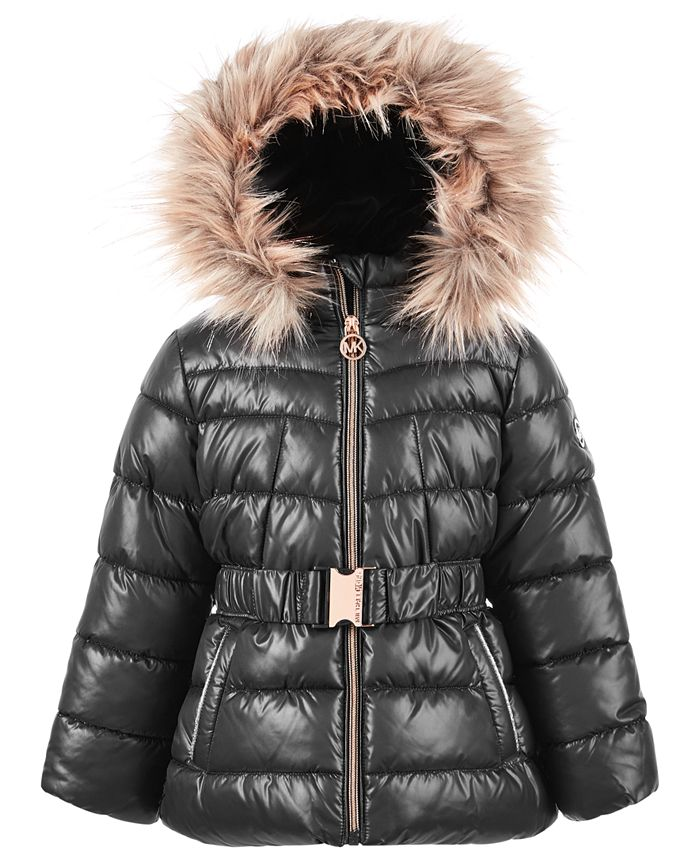 Michael Kors - Toddler Girls Belted Puffer Coat with Faux-Fur Trim