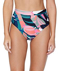 Raisins Juniors' Printed High-Waist Bikini Bottoms