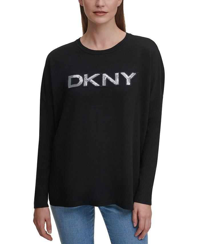 DKNY - Drop-Shoulder Sequin Logo Sweater