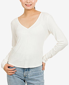 Hippie Rose Juniors' Ruched-Front Rib-Knit Top