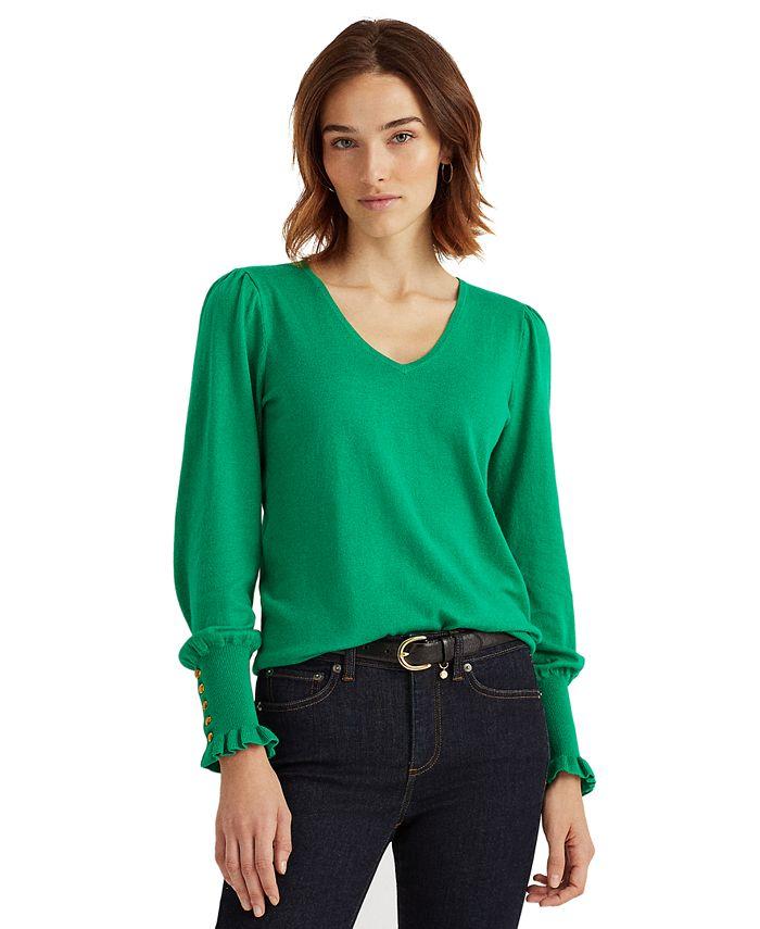 Lauren Ralph Lauren - Button-Cuff Long-Sleeve Sweater