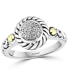 EFFY® Diamond Cluster Statement Ring (1/20 ct. t.w.) in Sterling Silver & 18k Gold-Plate