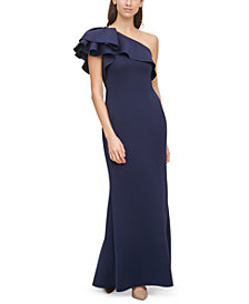 Eliza J Ruffled One-Shoulder Gown