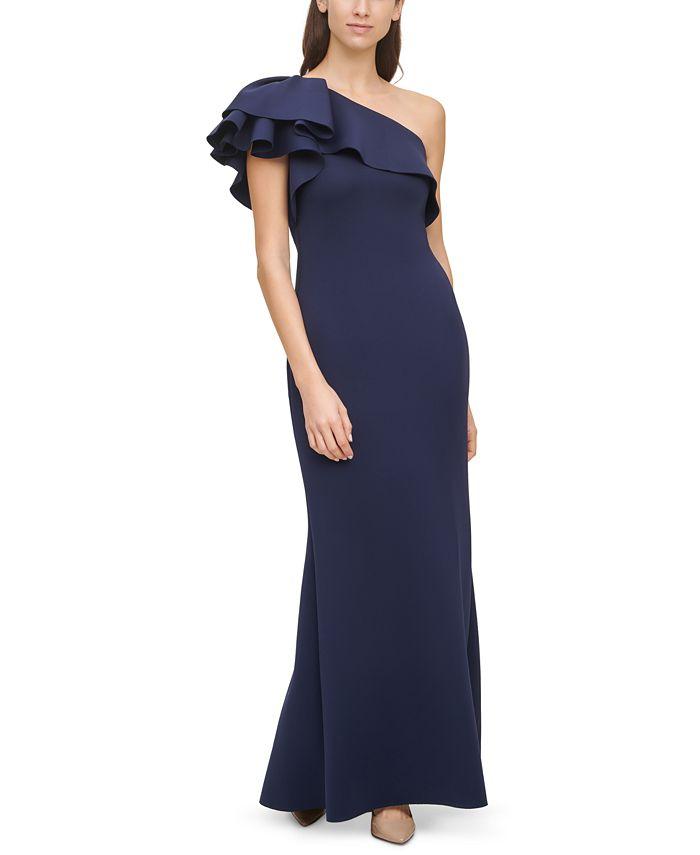 Eliza J - Ruffled One-Shoulder Gown