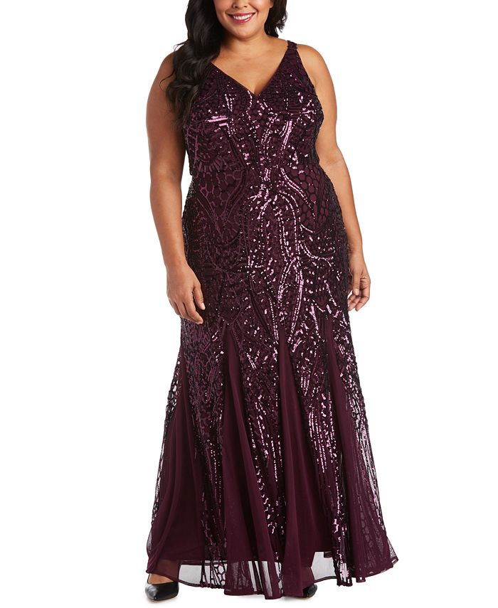 Nightway - Plus Size Sequined Mesh Gown