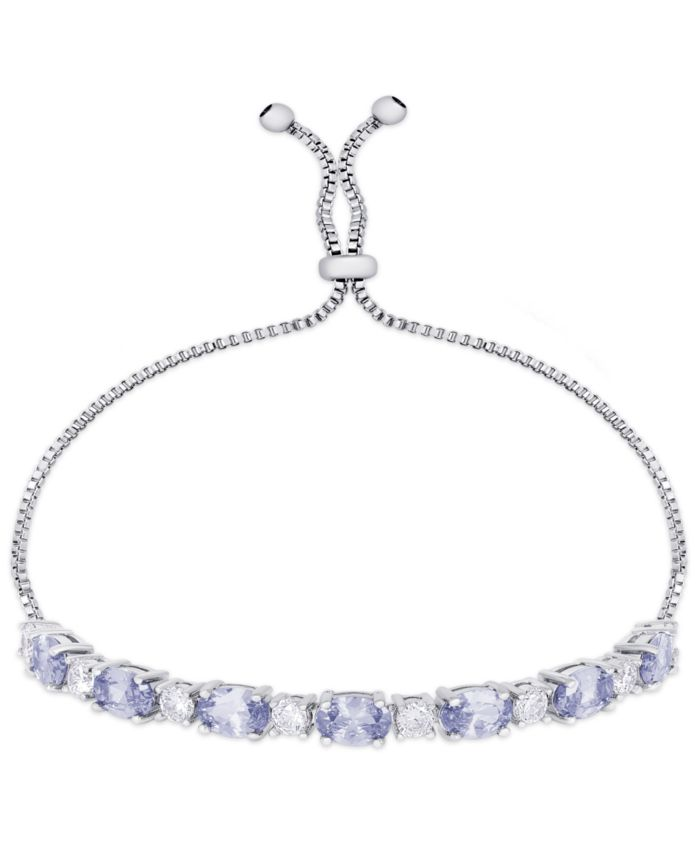 Macy's Diamond Accent Simulated Tanzanite Oval Bolo Adjustable Bracelet in Fine Silver Plate & Reviews - Bracelets - Jewelry & Watches - Macy's