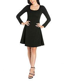 Women's Long Sleeve Knee Length Skater Dress