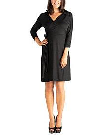 Women's Collared V-Neck 3/4 Sleeve Wrap Dress