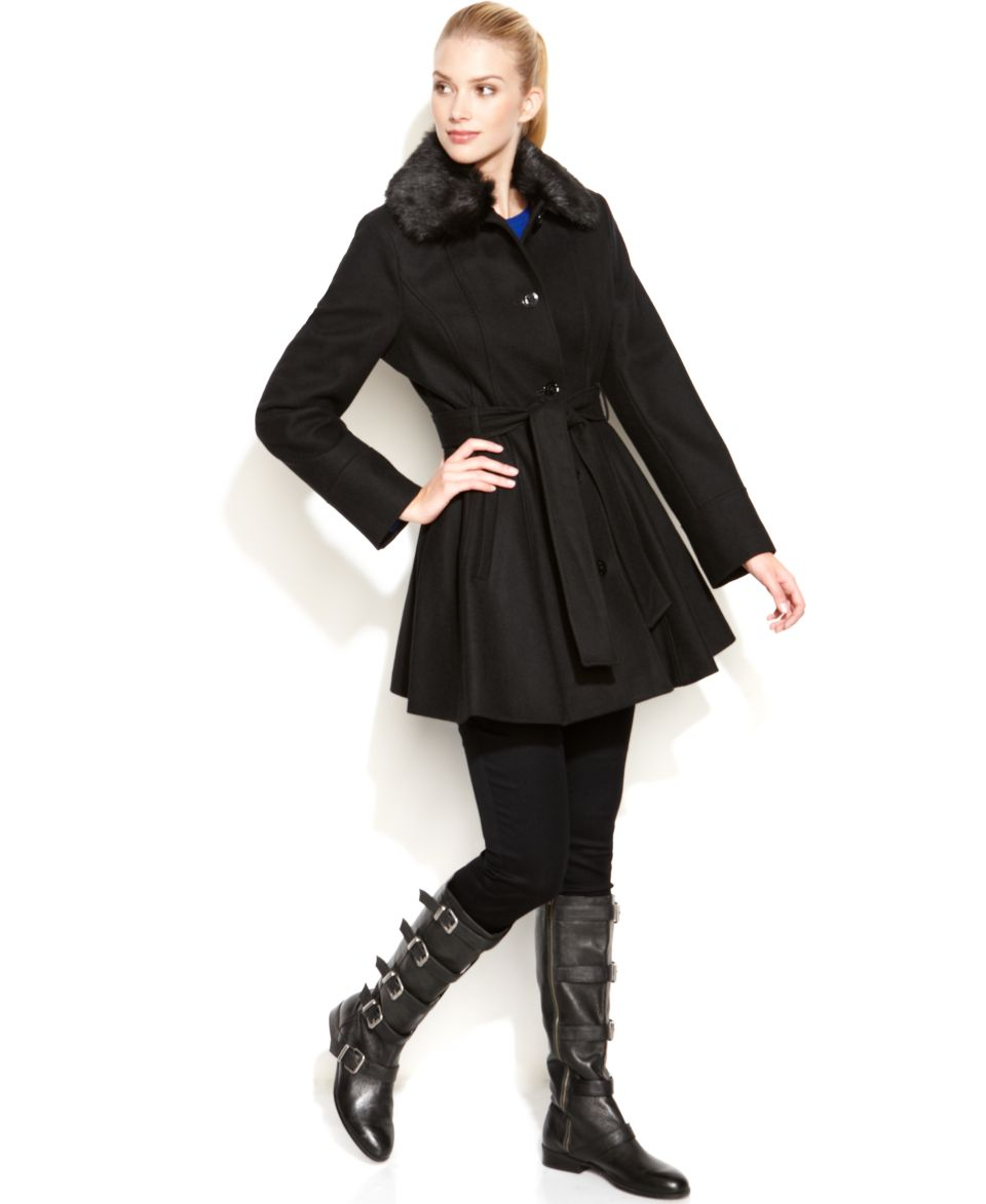 Laundry By Design Coats | Laundry By Design Faux Fur Collar Flared Coat Coats Women