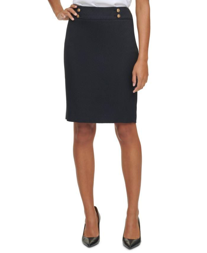 Calvin Klein Button Waist Pencil Skirt & Reviews - Skirts - Women - Macy's