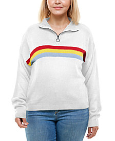 Derek Heart Trendy Plus Size Mock-Neck Rainbow-Stripe Sweater