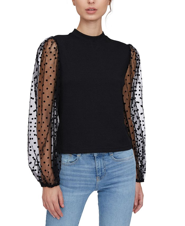 Lucy Paris - Sheer-Sleeve Mock-Neck Sweater