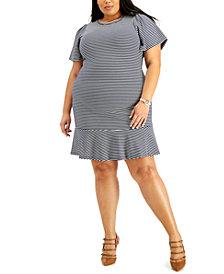 Michael Michael Kors Plus Size Striped Flutter-Sleeve Dress