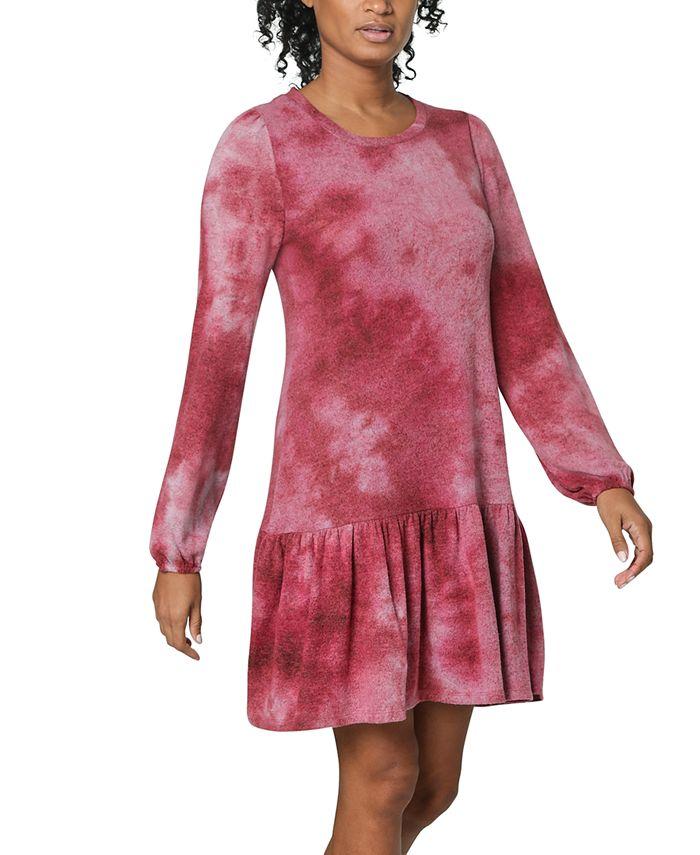 Ultra Flirt - Juniors' Tie-Dye Drop-Waist Dress